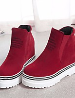 cheap -Women's Shoes Nubuck leather PU Winter Fall Comfort Bootie Boots Wedge Heel for Casual Red Black