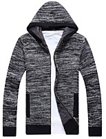 cheap -Men's Going out Regular Cardigan,Solid Hooded Long Sleeves Polyester Winter Fall Thick Micro-elastic