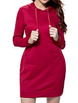 preiswerte -Bodycon Kleid-Alltag Freizeit Solide Mit Kapuze Mini Langärmelige Polyester Winter Herbst Hohe Taillenlinie Mikro-elastisch Undurchsichtig
