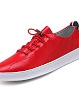Недорогие -Муж. обувь Лакированная кожа Весна Осень Удобная обувь Кеды для на открытом воздухе Белый Черный Красный