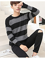 cheap -Men's Cotton Simple Regular Pullover,Striped Round Neck Long Sleeves Wool Cotton Polyester Fall Medium Micro-elastic