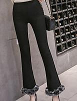 cheap -Women's Fur Trim Cotton Opaque Solid Color Legging,Solid Gray Black