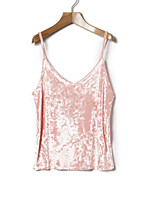 cheap -Women's Daily Simple Vintage Spring Summer Tank Top,Solid V Neck Sleeveless Polyester