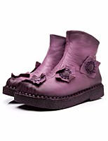 cheap -Women's Shoes Cowhide Winter Fall Snow Boots Boots Low Heel Round Toe for Casual Brown Purple Black