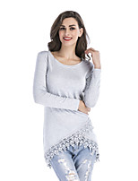 cheap -Women's Puff Sleeve Spandex T-shirt - Solid, Lace