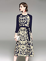 cheap -EWUS Women's Party Chinoiserie Sheath Dress,Geometric Round Neck Maxi 3/4 Sleeve Spring Summer Mid Waist Micro-elastic Thick