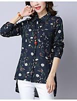 cheap -Women's Cotton Shirt - Print Shirt Collar