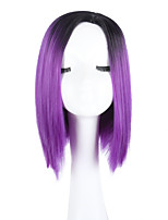 cheap -Straight Ombre Hair Black to Purple Middle Length Women Synthetic Wig Middle Parting Bob Haircut with Bang Natural Looking Fashion Wig Heat Resistant