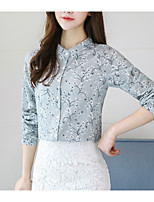 cheap -Women's Going out Vintage Spring Shirt,Floral Round Neck Long Sleeve Spandex