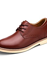 cheap -Shoes Cowhide Leather Spring Fall Formal Shoes Espadrilles Comfort Oxfords for Casual Office & Career Black Dark Red Light Brown