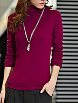 economico -T-shirt Da donna Quotidiano Casual Autunno,Tinta unita A collo alto Cotone Maniche lunghe