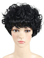 cheap -1B# Black Short Curly Wavy Natural African American Wig Pixie Cut With Bangs Celebrity Wig Cosplay Wig Natural Wigs Women Synthetic Wig Heat Resistant