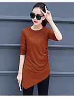 preiswerte -Damen Solide Retro Alltag T-shirt,Rundhalsausschnitt Ganzjährig Langärmelige Polyester