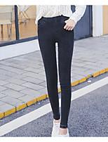 preiswerte -Damen Reine Farbe Undurchsichtig Polyester Solide Einfarbig Legging,Schwarz
