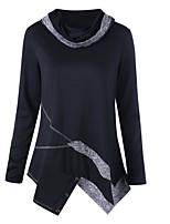 economico -T-shirt Da donna Quotidiano Casual Autunno,Monocolore Rotonda Cotone Maniche lunghe Sottile