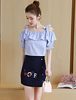 cheap -Women's Going out Simple Summer Fall T-Shirt Skirt Suits,Print Off-the-shoulder Short Sleeves Cotton Polyester