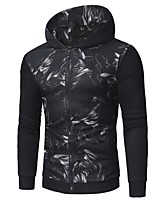 cheap -Men's Daily Casual Hoodie Print Hooded Hoodies Micro-elastic Polyester Long Sleeve Winter Spring/Fall