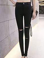 preiswerte -Damen Dünn Polyester Solide Einfarbig Legging,Weiß Schwarz