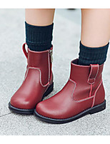 cheap -Girls' Shoes Cowhide Winter Fall Comfort Bootie Boots for Casual Burgundy Black