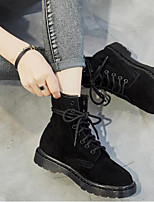 cheap -Women's Shoes Cowhide Spring Fall Fashion Boots Boots Low Heel Round Toe Booties/Ankle Boots for Casual Pink Black