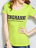 cheap -Women's Daily Casual Summer T-shirt,Letter Round Neck Short Sleeve Cotton