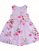 cheap -Girl's Daily Going out Floral Dress,Cotton Summer Sleeveless Cute Princess Blushing Pink
