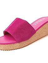 Недорогие -Для женщин Обувь Полиуретан Весна Осень Удобная обувь Тапочки и Шлепанцы Туфли на танкетке Круглый носок для Повседневные Черный