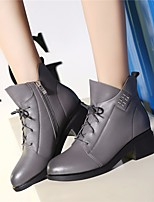cheap -Women's Shoes Cowhide Nappa Leather Winter Fall Comfort Bootie Boots Chunky Heel for Casual Gray Black