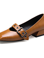 cheap -Women's Shoes PU Spring Fall Comfort Heels Chunky Heel Square Toe Buckle for Office & Career Dress Brown Beige Black