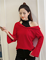 cheap -Women's Going out Casual/Daily Cute Shirt,Solid Halter Long Sleeves Cotton