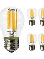 Недорогие -5 шт. 6W 560 lm E27 LED лампы накаливания G45 6 светодиоды COB Эдисонская лампа Светодиодные фонарики Тёплый белый Холодный белый AC