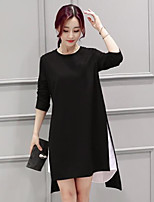cheap -Women's Casual/Daily Simple Loose Dress,Color Block Round Neck Asymmetrical Long Sleeve Cotton Spring Fall Mid Rise Micro-elastic Opaque