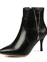 Недорогие -Жен. Обувь Дерматин Зима Весна Модная обувь Ботинки На шпильке Заостренный носок Ботинки для Свадьба Для праздника Белый Черный Винный