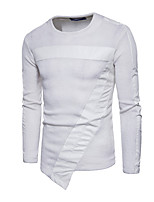 cheap -Men's Daily Casual Regular Pullover,Solid Round Neck Long Sleeves Polyester Winter Opaque Micro-elastic