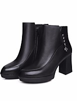 cheap -Women's Shoes Nappa Leather Cowhide Winter Fall Comfort Bootie Boots Chunky Heel Booties/Ankle Boots for Casual Black Gray