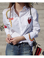 cheap -Women's Casual/Daily Street chic Shirt,Embroidery Shirt Collar Long Sleeves Cotton