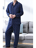 abordables -Costumes Pyjamas Homme Moyen Coton Bleu