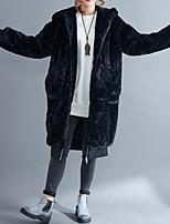 Недорогие -Для женщин Повседневные На выход Зима Пальто с мехом Капюшон,Винтаж Однотонный Длинная Длинные рукава,Другое,Крупногабаритные