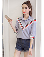 cheap -Women's Casual/Daily Street chic Shirt,Striped Shirt Collar 3/4 Length Sleeve Cotton