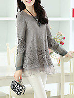 cheap -Women's Daily Going out Casual Street chic All Seasons Blouse,Solid Round Neck Long Sleeve Polyester Others Thin