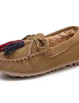 cheap -Girls' Shoes Nubuck leather Cowhide Winter Fall Comfort Fluff Lining Loafers & Slip-Ons for Casual Dark Blue Khaki