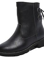 Недорогие -Для женщин Обувь Полиуретан Зима Удобная обувь Меховая подкладка Ботинки На плоской подошве Круглый носок Сапоги до середины икры для