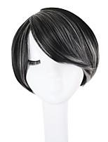 abordables -Pelo sintético pelucas Recto Peluca afroamericana Parte lateral Entradas Naturales Pelo reflectante/balayage Corte a capas Corte Pixie
