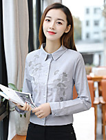 cheap -Women's Daily Street chic Spring Fall Shirt,Print Shirt Collar Long Sleeve Cotton Opaque