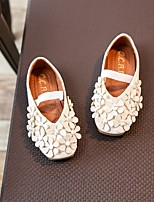 cheap -Girls' Shoes PVC Leather Spring Fall Flower Girl Shoes Flats Applique for Casual Black White