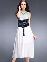 cheap -Women's Fabric Wide Belt,White Navy Blue Light Blue Casual