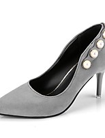 preiswerte -Damen Schuhe Gummi Frühling Herbst Komfort High Heels Niedriger Heel Spitze Zehe für Draussen Schwarz Grau Braun