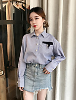 cheap -Women's Casual/Daily Street chic Shirt,Solid Shirt Collar Long Sleeves Cotton