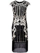 preiswerte -20er Gatsby Kostüm Damen Flapper Kleid Schwarz Blau Silber Vintage Cosplay Polyethylen Kurzarm Kappe