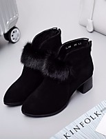 cheap -Women's Shoes Cowhide Nappa Leather Winter Fall Comfort Bootie Boots Chunky Heel for Casual Black